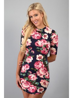 Half Sleeve Floral Bodycon Mini Dress