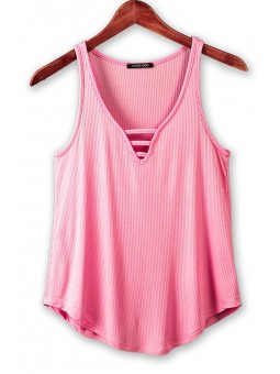 Super Soft Touch Rib Tank With Front Detail