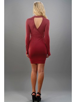 Mock Neck Triangle Cut Out Front Back Dress