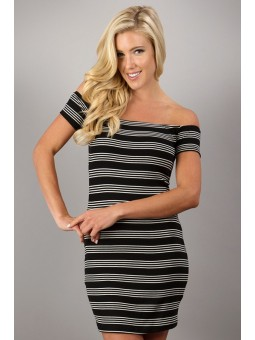 Off The Shoulders Striped Dress
