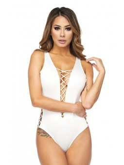 Sleeveless Bodysuit with Side Criss Cross Opening and Front Deep V Criss Cross Opening